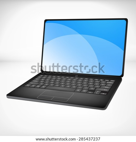 3D Black Laptop with blue screen