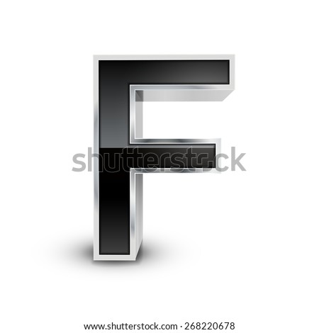 3d black metal alphabet F isolated on white background - stock vector