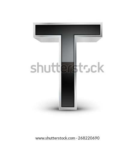 3d black metal alphabet T isolated on white background - stock vector