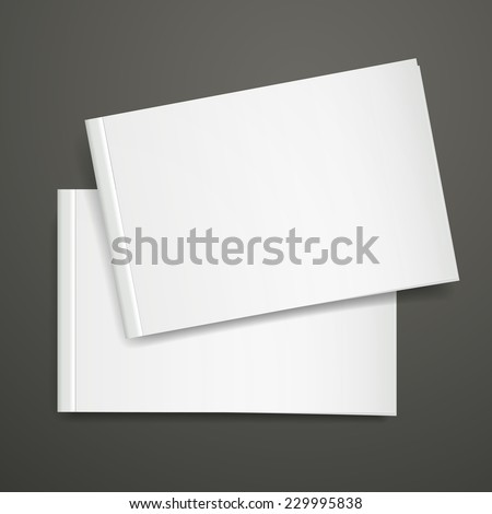 3d blank books cover over black background - stock vector