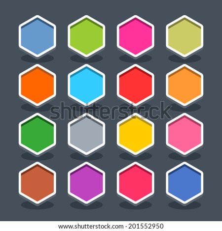 16 3d blank icon in flat style. Set 01 (clicked variant). Colored smooth hexagon button with oval shadow on gray background. Vector illustration web internet design element saved in 8 eps - stock vector