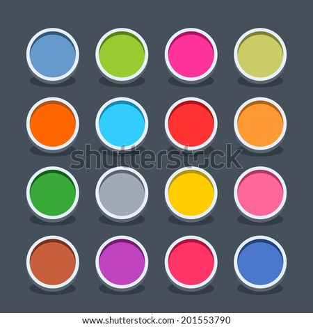 16 3d blank icon in flat style. Set 01 (clicked variant). Colored soft circle button with oval shadow on gray background. Vector illustration web internet design element saved in 8 eps