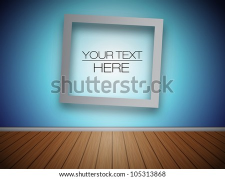 3D Blank Photo Frame at the Wall for Your Text or Photo - EPS10 Vector Illustration - stock vector