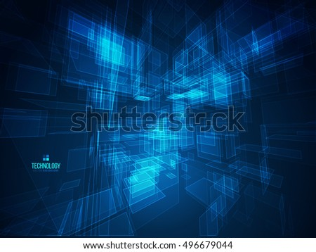3D Blue Abstract Mesh Background. Good for Technology Business Artwork. Vector Illustration.