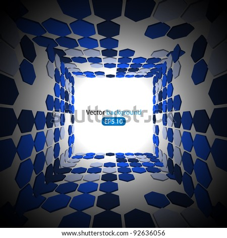 3d blue business abstract background. Vector illustration - stock vector