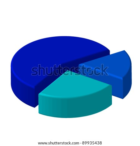 3D blue circle three pieces chart - stock vector