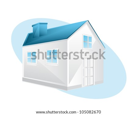 3d blue house over white background. vector illustration