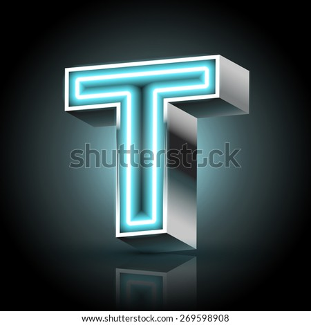 3d blue neon light letter T isolated on black background