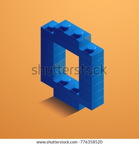 3 D Blue Numbered Lego Brick On Stock Vector Royalty Free