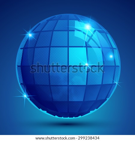 3d blue sphere with flashes, shiny dotted futuristic round structure.