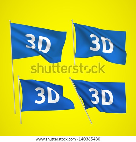 3D - blue vector flags. A set of wavy flags created using gradient meshes. EPS 8 vector - stock vector