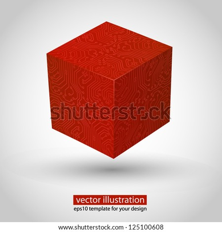 3d box circuit board stile. Red variant - stock vector