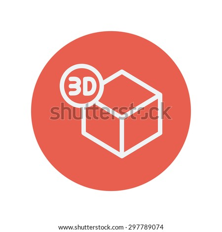 3D box thin line icon for web and mobile minimalistic flat design. Vector white icon inside the red circle. - stock vector