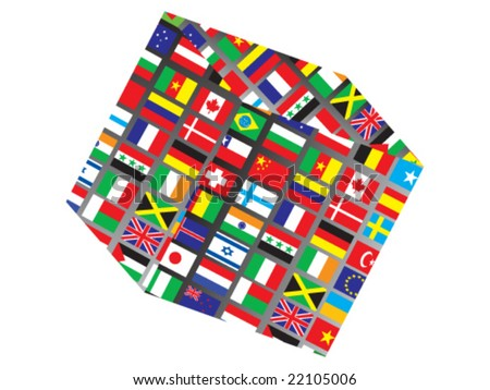 3d box with world flag on it
