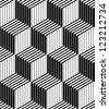 3d boxes geometric optical seamless pattern, black and white vector background. - stock photo