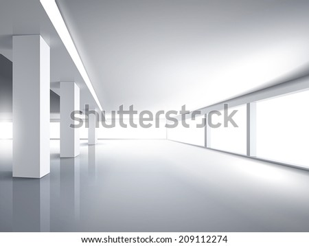 3d bright empty office interior with light - stock vector