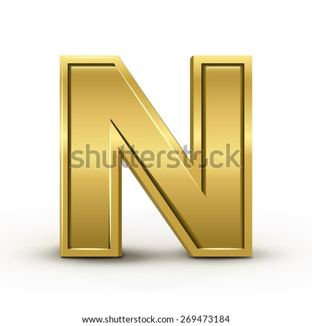 3d bright golden letter M isolated on white background - stock vector