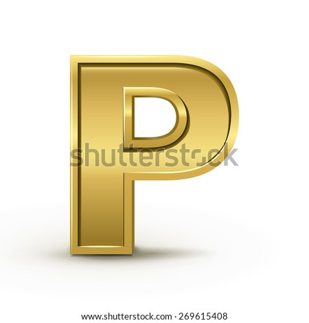 3d bright golden letter P isolated on white background - stock vector