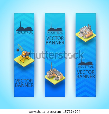 3d building concept. Banners set. Vector Illustration, eps10, contains transparencies. - stock vector