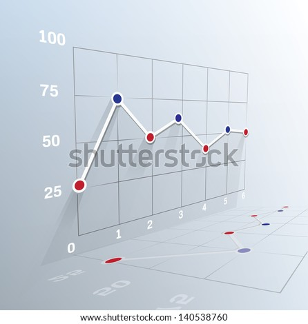 3d Business graph. Vector illustration. . Can be used for infographics - stock vector