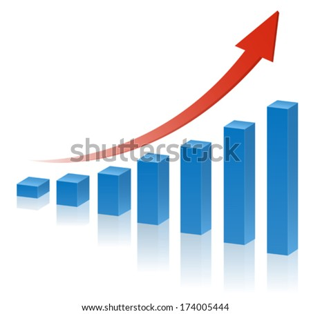 3d business graph with red rising arrow - stock vector