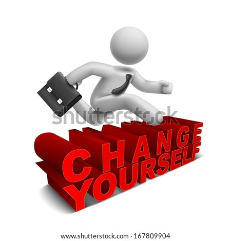 3d businessman jumping over 'change yourself' word with white background - stock vector