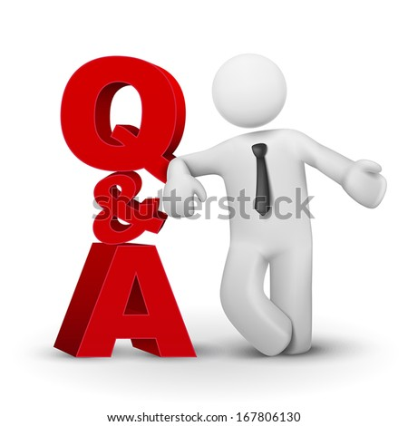 3d businessman presenting concept word Q&A isolated white background - stock vector