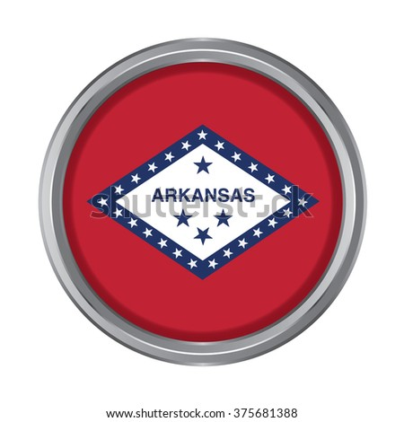 3D button Flag of Arkansas state of the United States. Vector illustration. - stock vector