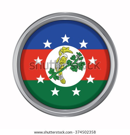 3D button Flag of Chin Districts / Regions / States of Myanmar. Vector illustration. - stock vector