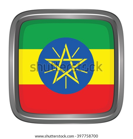 3D button Flag of Ethiopia. Vector illustration.