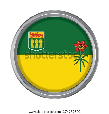 3D button Flag of Saskatchewan Province or territory of Canada. Vector illustration. - stock vector