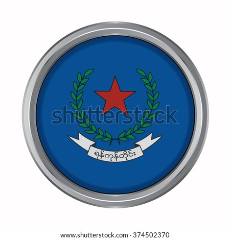 3D button Flag of Yangon Districts / Regions / States of Myanmar. Vector illustration. - stock vector