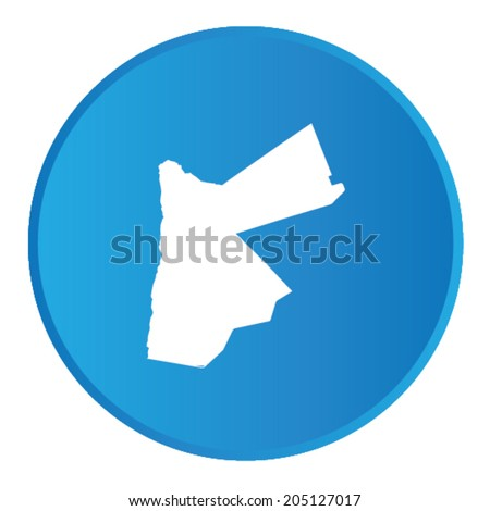 3D button with the outline of the country of Jordan