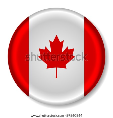 3D Canada Flag Glossy Button - stock vector