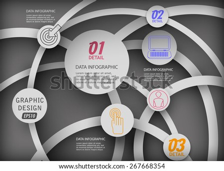 3d chaotic network diagram infographics - stock vector