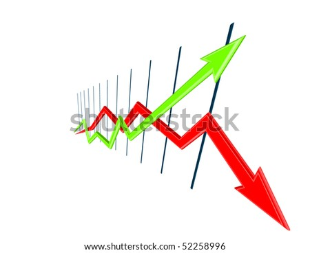 3d Chart curves width perspective - stock vector