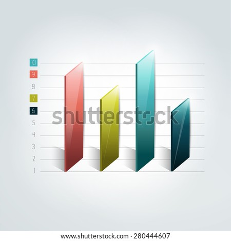 3D chart, graph, bar. Infographic element.