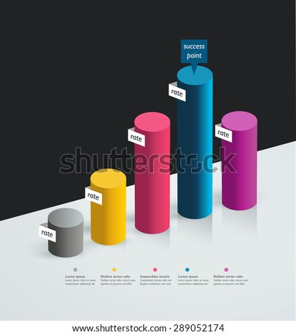3D Chart, graph. Simply color editable. Infographics elements. - stock vector