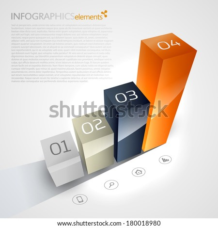 3D chart on a white background. - stock vector