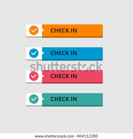 3d Check In Button set with icon. beautiful text button with icon. Orange Button, Blue Button, Red Button, Turquoise button. Call to action icon button. Flat Button Set. Vector Illustration - stock vector