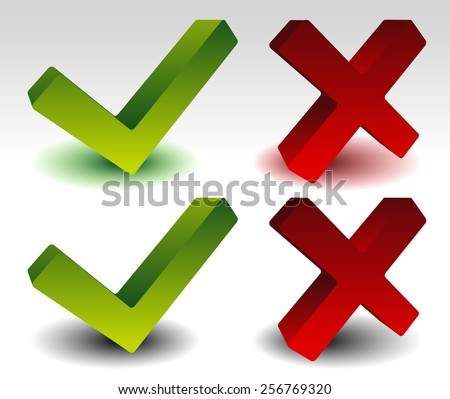 3D Check-mark and Cross set - stock vector