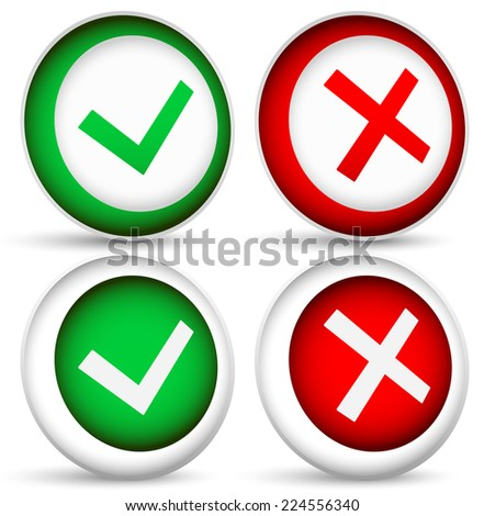 3d Checkmark and x, cross concepts - stock vector