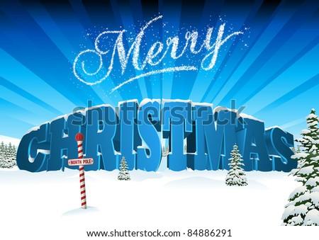 3D Christmas Card Scene - stock vector