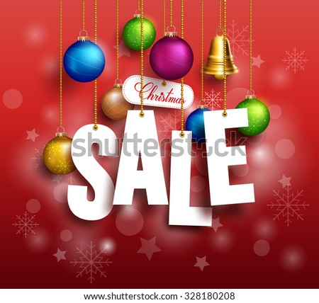 3D Christmas Sale Text Hanging for Promotion with a Christmas Balls and Decorations in Red Background. Realistic Vector Illustration  - stock vector