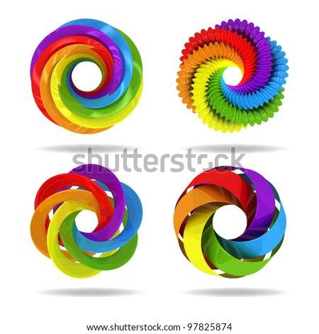 3d circle colorful elements. Vector illustration - stock vector