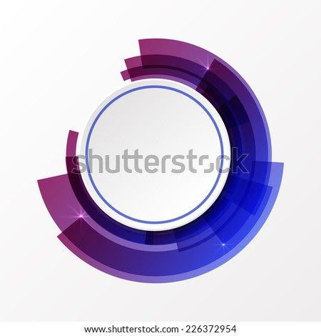 3d circle paper white banner on abstract background in blue and violet colors. - stock vector