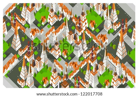 3D city background - stock vector