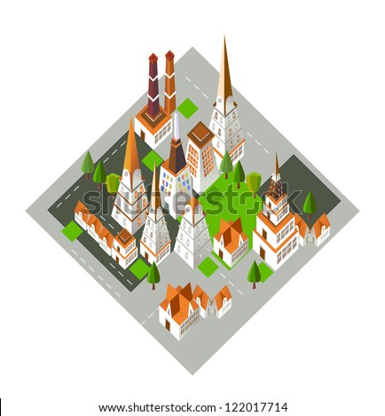 3D city icon - stock vector