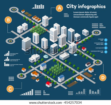 3D city isometric three-dimensional infographics including skyscrapers, homes and stores with streets and trees in the area of the city with the business conceptual graphs and diagrams - stock vector