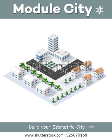 3d cityscape city street public block house from above highway intersection transportation road. Isometric winter landscape of skyscraper view of building office and residential area of construction
